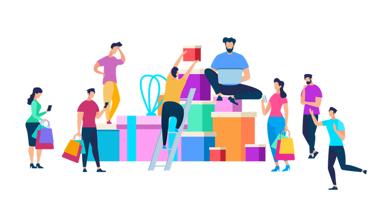 People Moving Around of Huge Heap of Gift Boxes Illustration