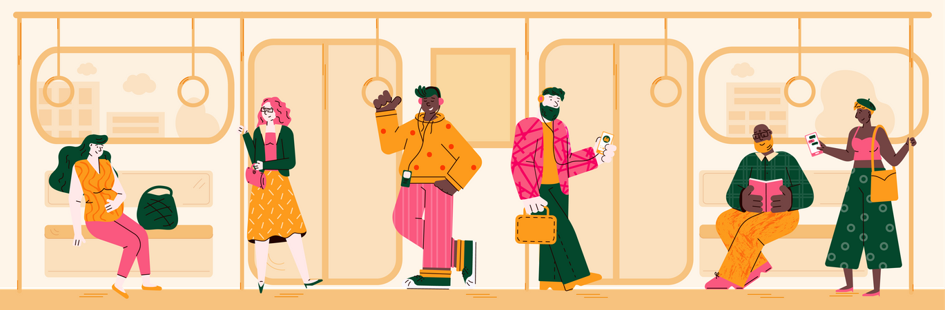 People on way to home via train Illustration
