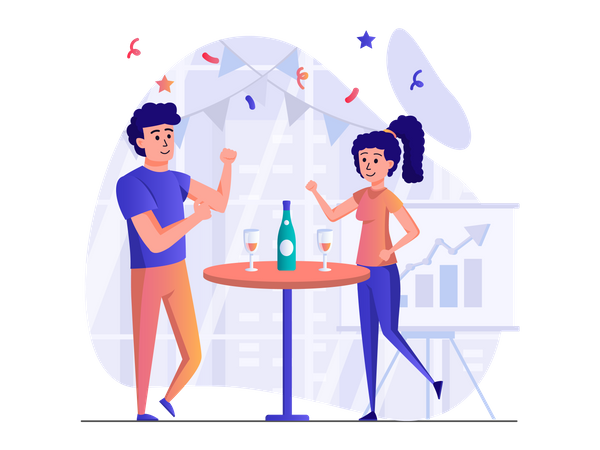 People partying and drinking champagne Illustration