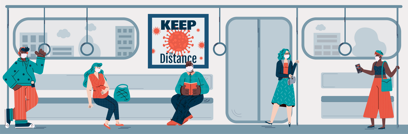 People passengers of subway keeping social distancing to avoid coronavirus epidemic increase Illustration
