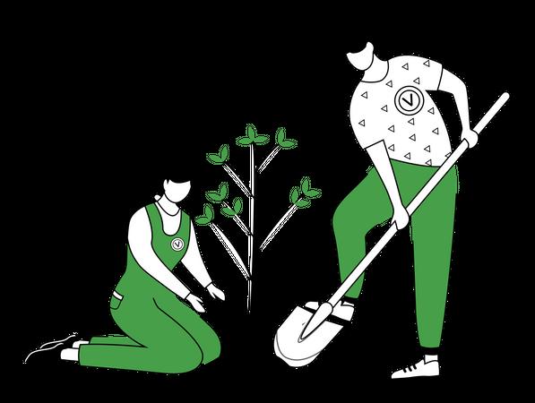 People planting tree Illustration
