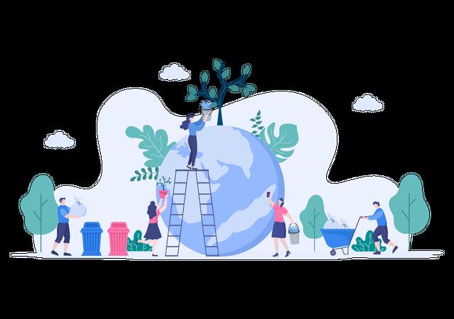 People Planting Trees Illustration