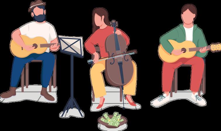 People playing music Illustration