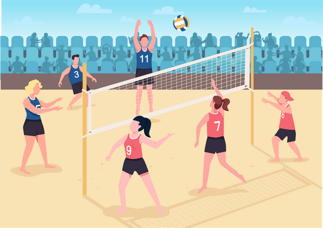 People playing volleyball on beach Illustration