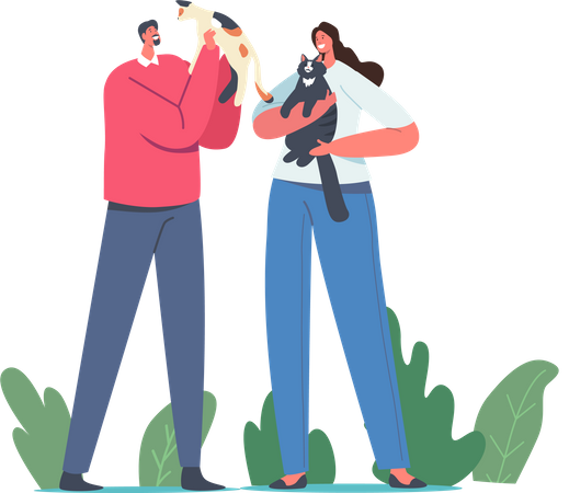 People playing with cats Illustration
