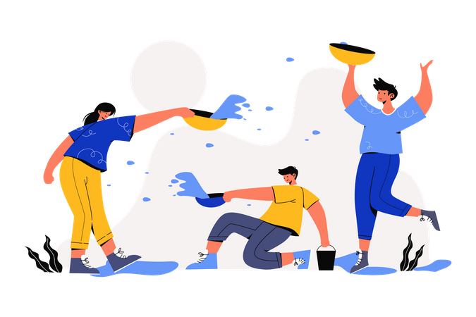 People playing with water on Songkran Festival Illustration