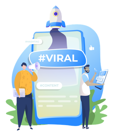 People promoting a viral video content Illustration