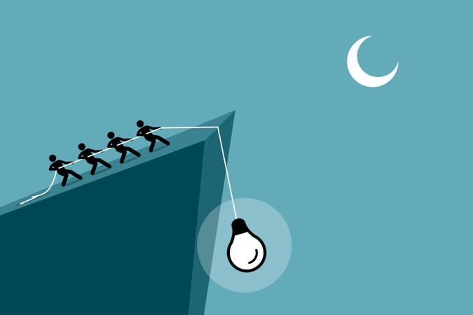 People pulling an idea up from falling down the cliff by using rope Illustration