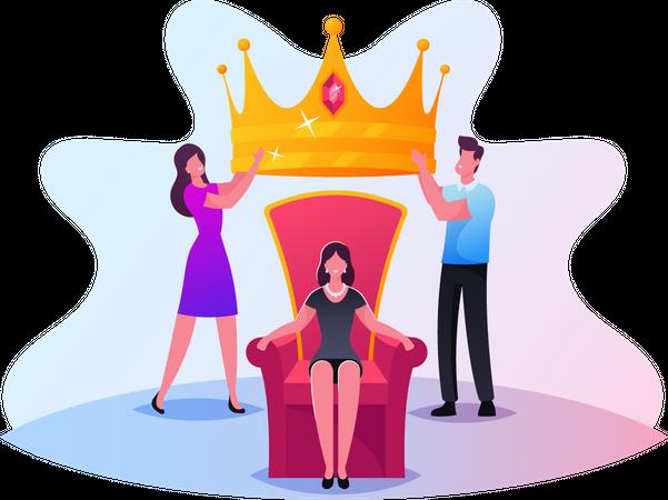 People Put Royal Crown on Woman Head Illustration
