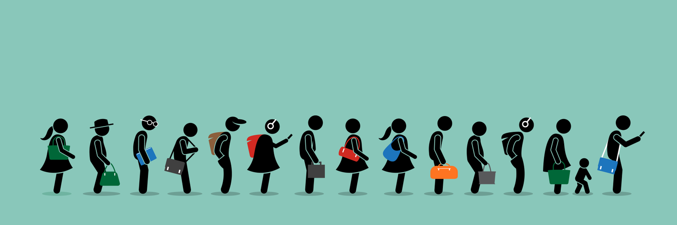 People queuing up in a long queue line Illustration