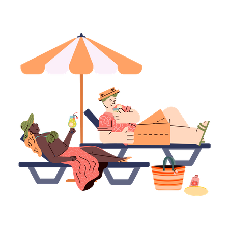 People relaxing on summer beach. Illustration