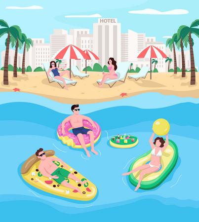 People resting at seaside resort Illustration