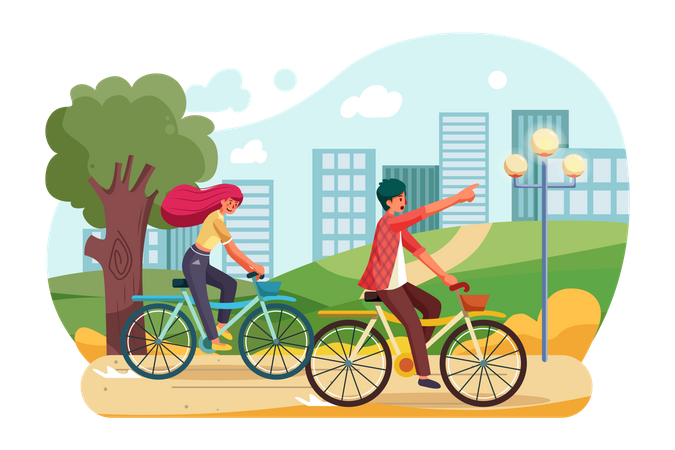 People riding a bike in the park Illustration