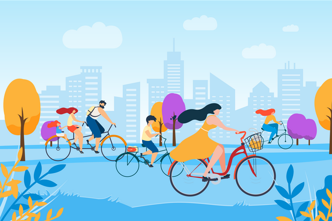 People riding bicycles on street Illustration