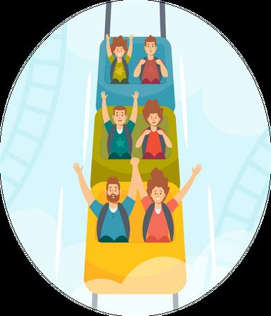 People Riding Roller Coaster in Amusement Park Illustration