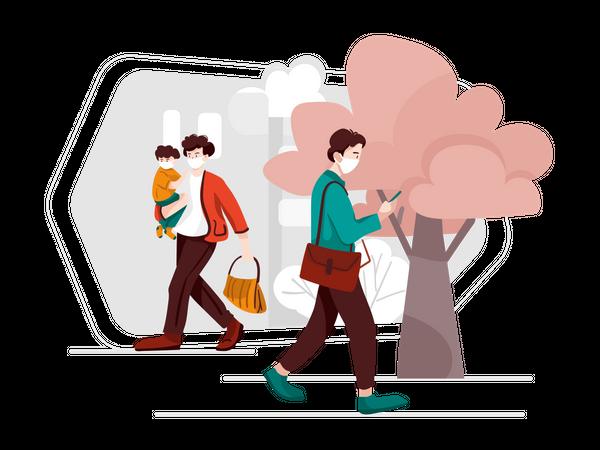 People roaming on street wearing mask Illustration