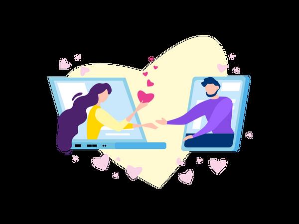 People Romantic Relationship, Internet Romance and Flirt Illustration