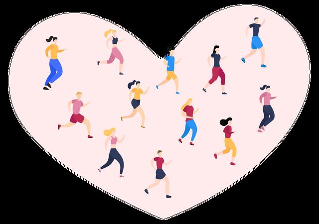 People Running Illustration