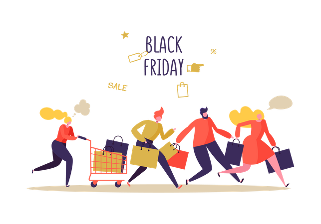 People running for Black Friday Sale shopping Illustration