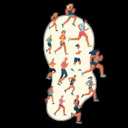 People running in marathon Illustration