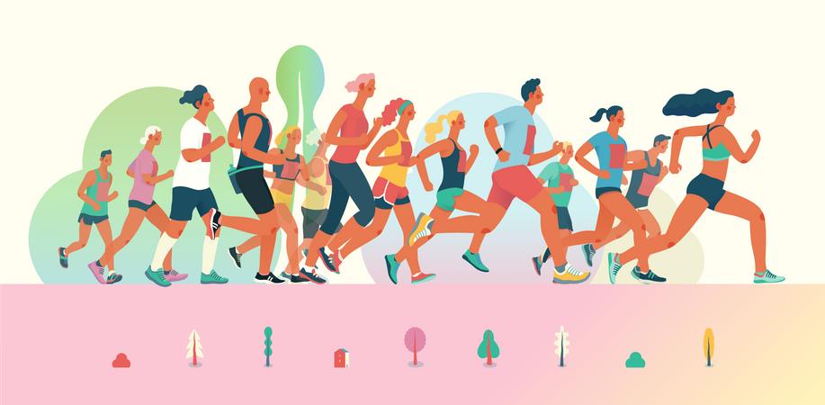 People running in marathon race Illustration
