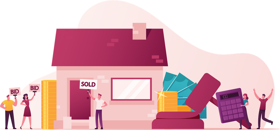 People Sale and Purchase Property Illustration