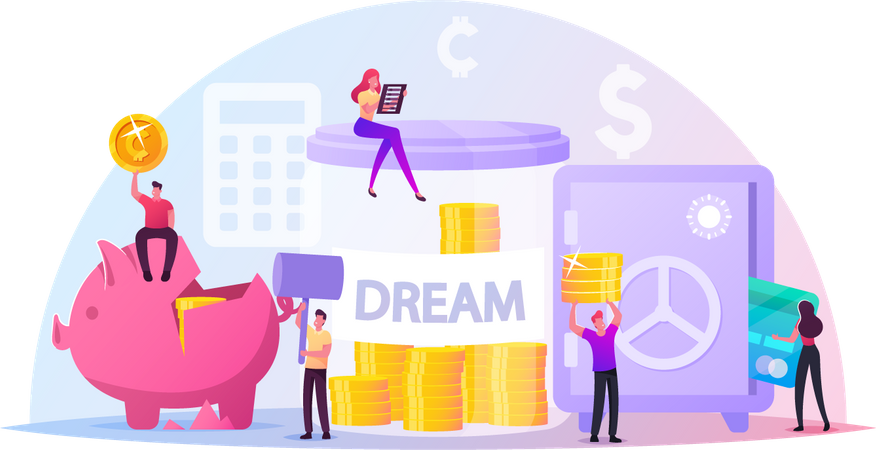 People Saving and Collect Money Illustration