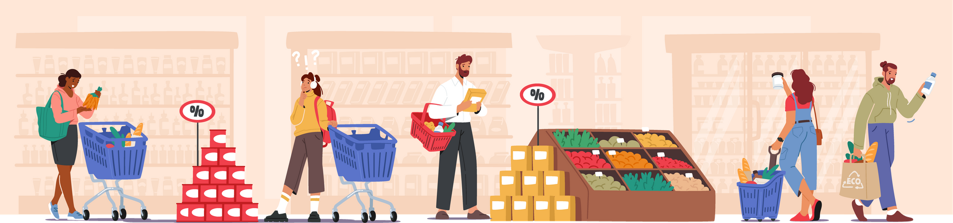 People shopping at shopping store Illustration