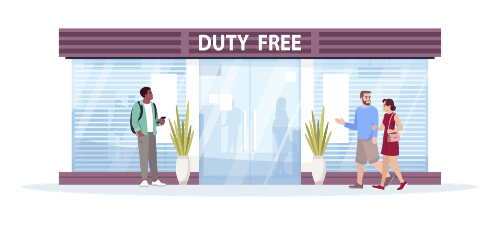 People shopping for duty free products Illustration