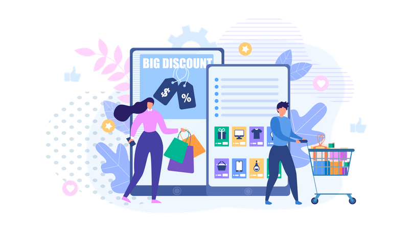 People Shopping Online Illustration