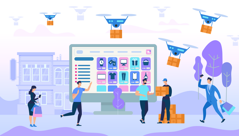 People Shopping purchase and drone delivery on social platform Illustration