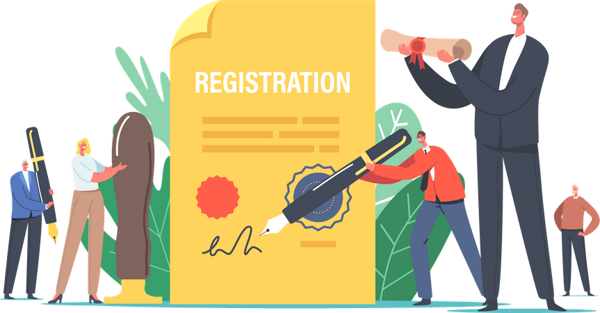 People Signing for New Company Registration Illustration