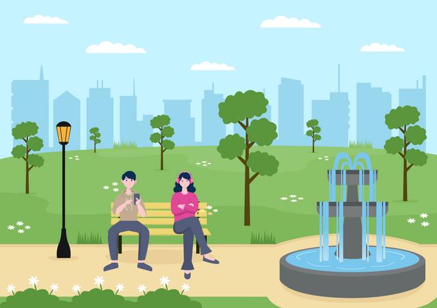 People sitting in park Illustration