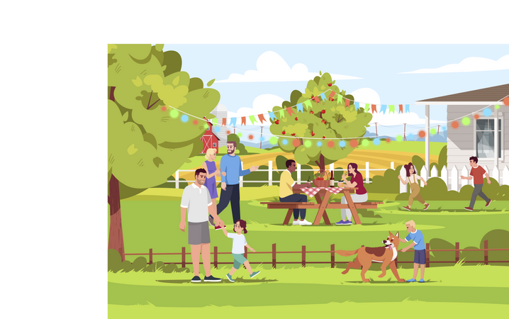 People Spending Holiday In Village Illustration