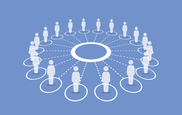 People standing around a circle connecting with each others Illustration