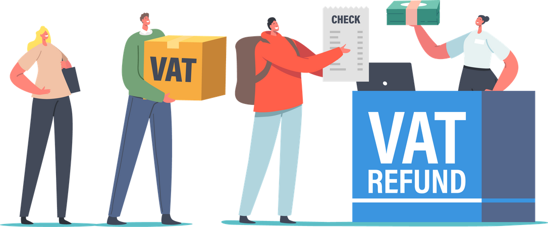 People Standing at Airport Value Added Tax Refund Counter Illustration