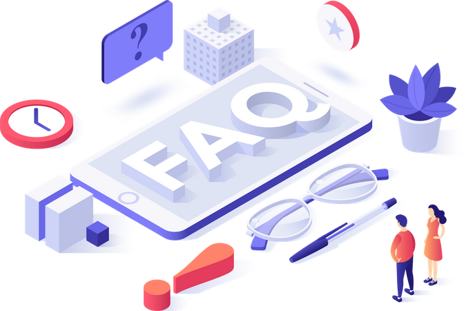 People standing near smartphone with FAQ Illustration