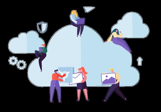 People storing data on cloud Illustration
