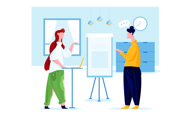 People talking at business building Illustration