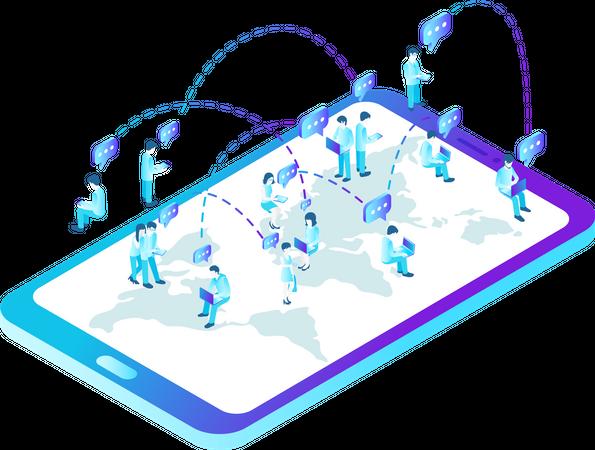 People talking worldwide via social network messenger Illustration