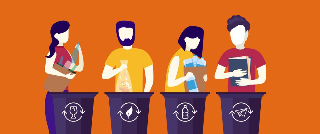People throwing trash in recycle bin Illustration
