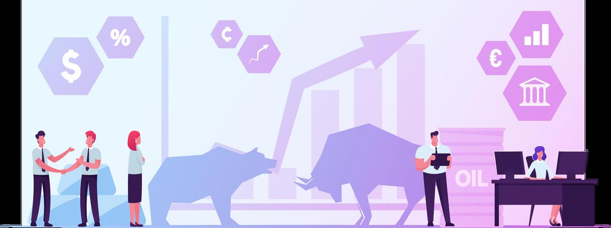 People Trading at Stock Market Illustration