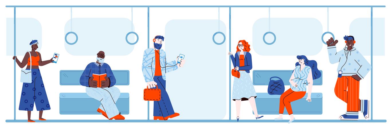 People travelling in metro Illustration