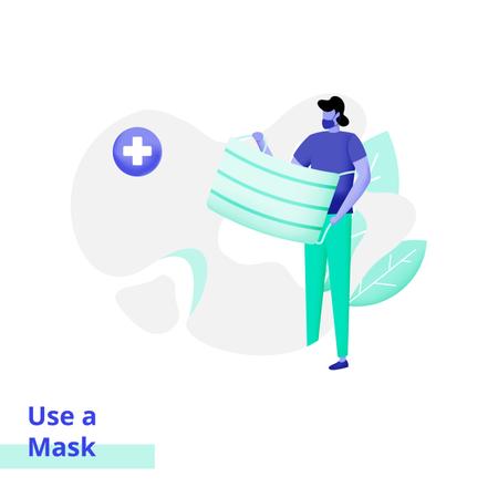 People Use a Mask Illustration
