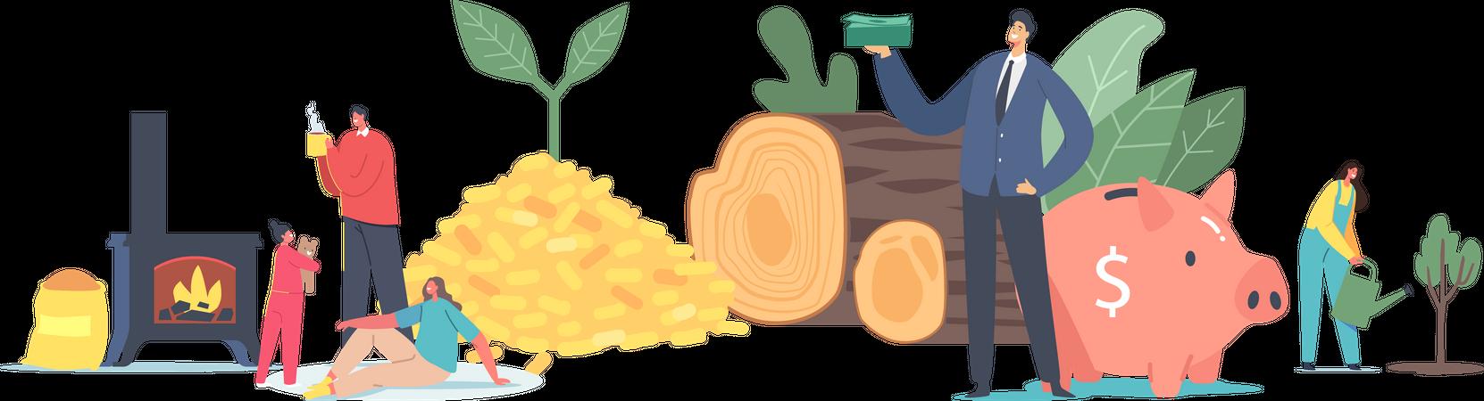 People Use Bio Coal Concept Illustration