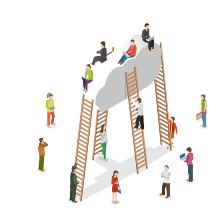 People using Cloud Storage Illustration