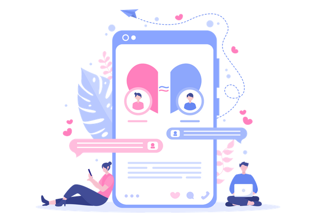 People using dating app Illustration