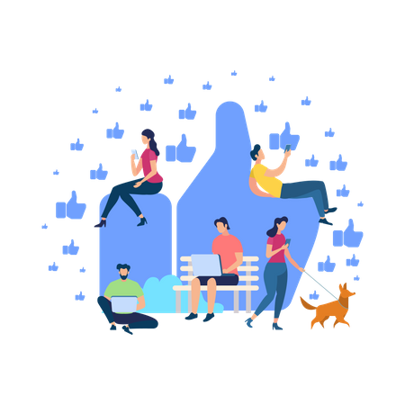 People Using Gadgets and Smartphones Illustration