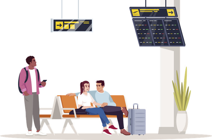 People waiting area at airport Illustration