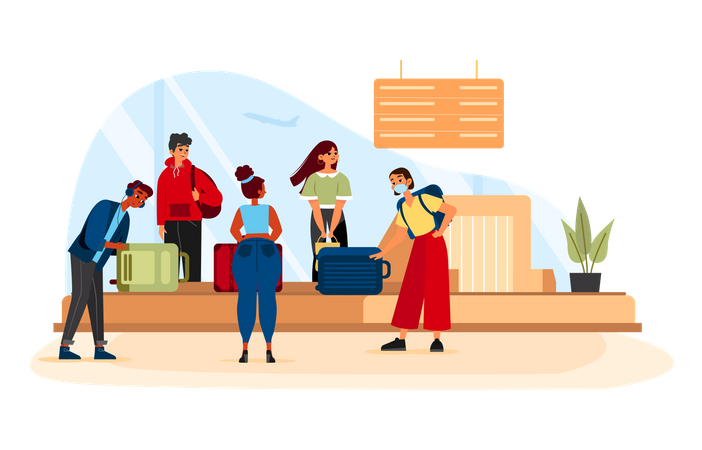 People Waiting For Luggage At Baggage Carousel Illustration